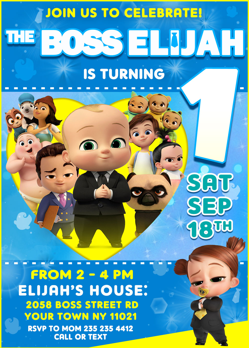 The Boss baby family business invitation