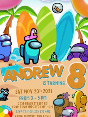 Among us Pool Party invitation